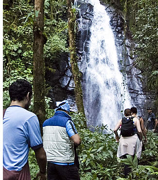 Reaching the waterfall at the end of La Novia de la Monta�a Hike in Boquete, Panama